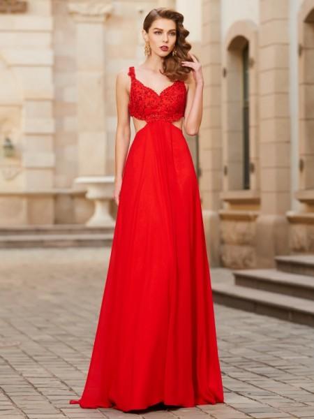 A-Line/Princess Straps Floor-Length Applique Chiffon Dress