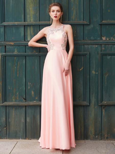 A-Line/Princess Scoop Satin Floor-Length Dress