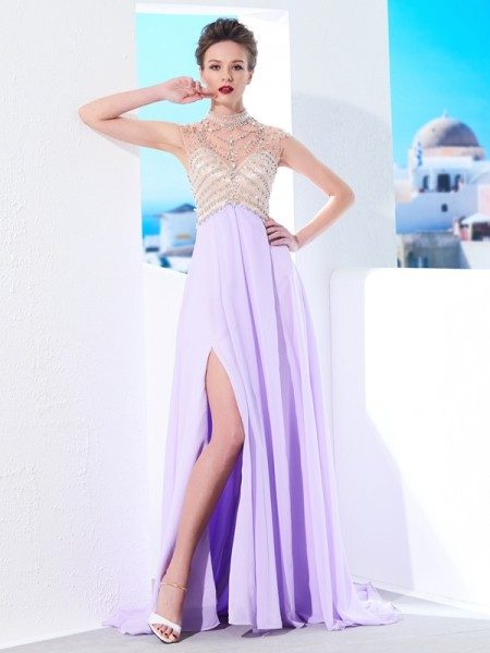 A-Line/Princess High Neck Sweep/Brush Train Crystal Chiffon Dress