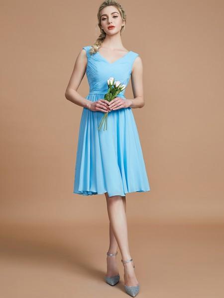 A-Line/Princess Ruched Short/Mini Chiffon Bridesmaid Dress