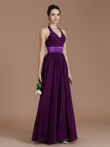 A-Line/Princess Halter Floor-Length Chiffon Bridesmaid Dress