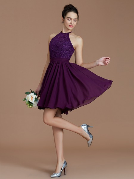A-Line/Princess Halter Lace Short/Mini Chiffon Bridesmaid Dress