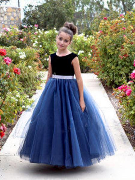 A-Line/Princess Sleeveless Tulle Ankle-Length Sash/Ribbon/Belt Flower Girl Dress