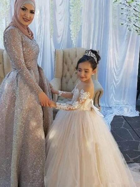 Ball Gown Long Sleeves Off-the-Shoulder Sweep/Brush Train Tulle Flower Girl Dress