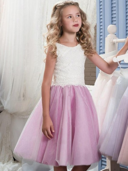 A-Line/Princess Sleeveless Scoop Knee-Length Tulle Lace Flower Girl Dress