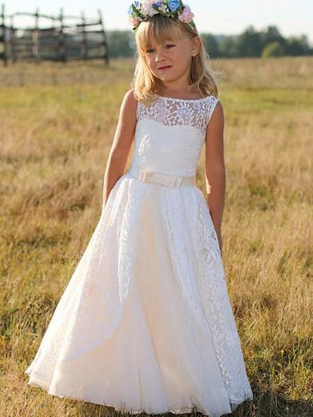 A-Line/Princess Sleeveless Scoop Floor-Length Sash/Ribbon/Belt Lace Flower Girl Dress