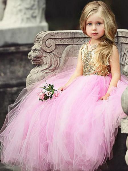 Ball Gown Sleeveless Scoop Floor-Length Sequin Tulle Flower Girl Dress