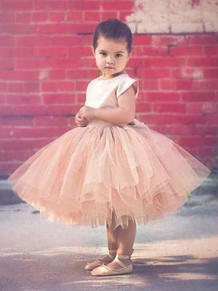 Ball Gown Short Sleeves Knee-Length Scoop Ruffles Tulle Flower Girl Dress