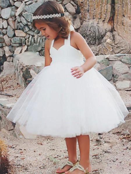 A-Line/Princess Sleeveless Halter Tea-Length Ruffles Tulle Flower Girl Dress