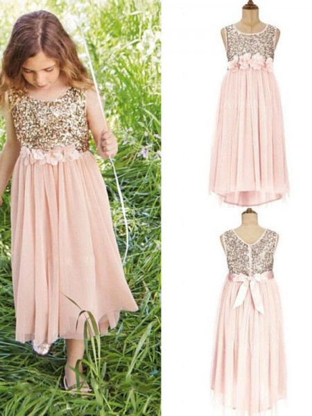 A-Line/Princess Sleeveless Asymmetrical Scoop Sequin Chiffon Flower Girl Dress