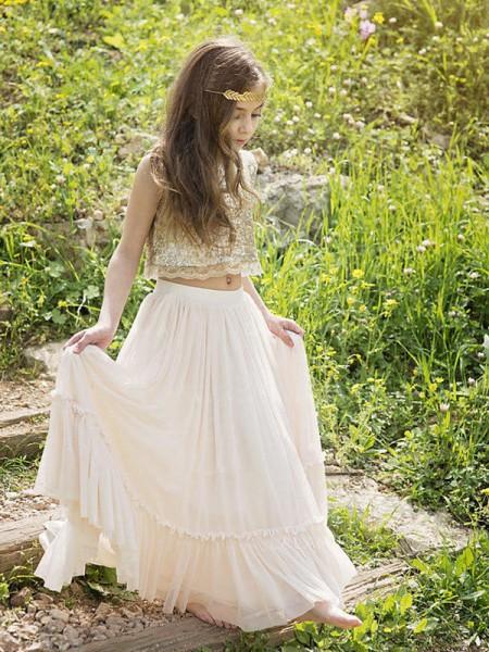 A-Line/Princess Sleeveless Scoop Floor-Length Sequin Chiffon Flower Girl Dress