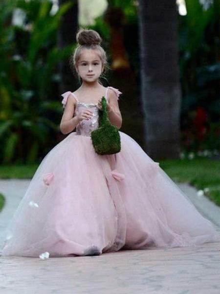 Ball Gown Sleeveless Spaghetti Straps Sweep/Brush Train Tulle Flower Girl Dress
