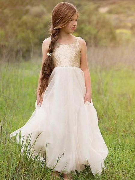 A-Line/Princess Sleeveless Scoop Floor-Length Sequin Tulle Flower Girl Dress