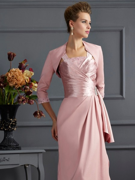 Elegant Elastic Woven Satin 3/4 Sleeves Special Occasion Wrap