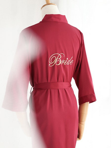 Comfortable Silk like Satin Embroidery Bride Robes