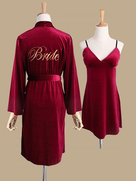 Soft Polyester Embroidery Bride Robes