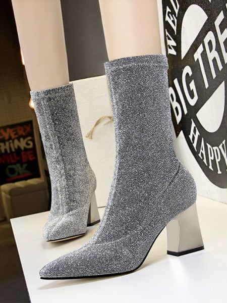 Women's Sparkling Glitter Chunky Heel Closed Toe Boots