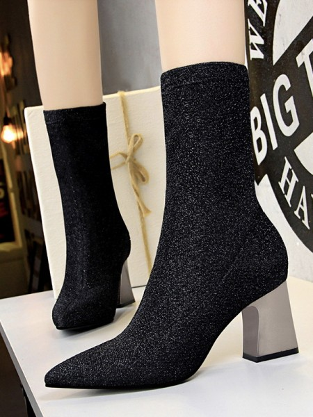 Women's Closed Toe Chunky Heel Sparkling Glitter Boots