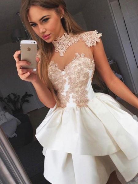 A-Line/Princess Sleeveless Satin Short/Mini Dress