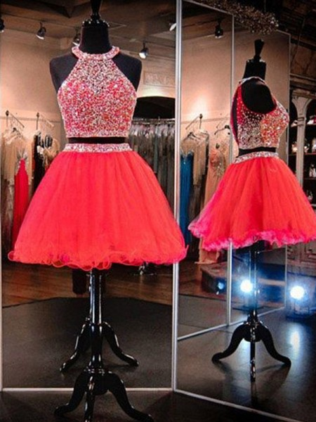 A-Line/Princess Sleeveless Halter Tulle Short/Mini Two Piece Dress