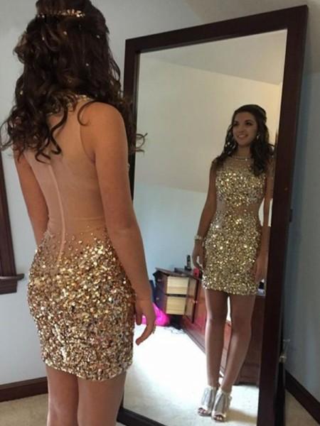 Sheath/Column Sleeveless Bateau Sequin Short/Mini Dress
