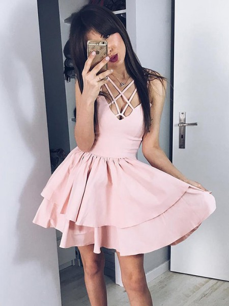 A-Line/Princess Satin Spaghetti Straps Sleeveless Short/Mini Dress