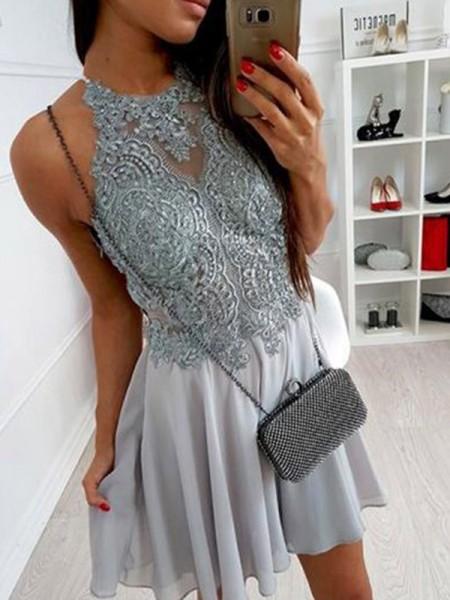 A-Line/Princess Chiffon Halter Sleeveless Short/Mini Dress