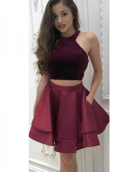 A-Line/Princess Sleeveless Halter Satin Two Piece Short/MiniDress
