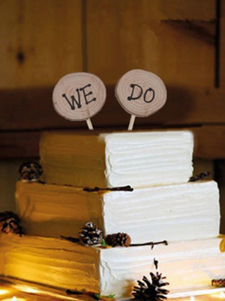 Pretty Wooden Cake Topper(We and Do)