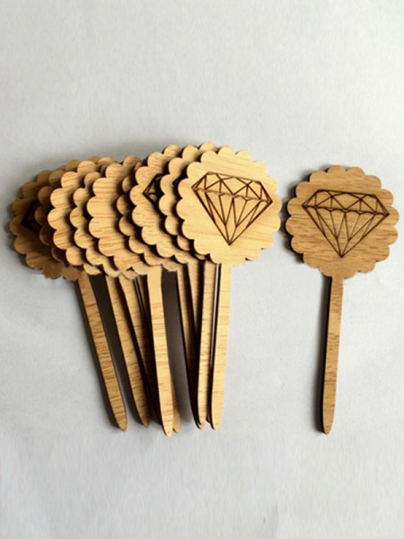 Pretty Wooden Cake Topper(10 Pieces)