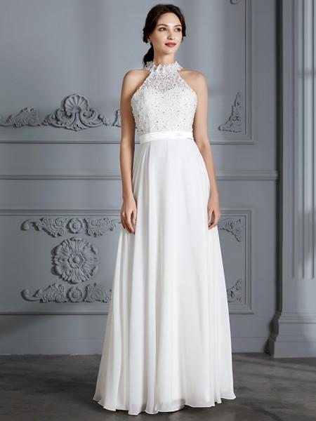 A-Line/Princess Chiffon Scoop Floor-Length Wedding Dresses