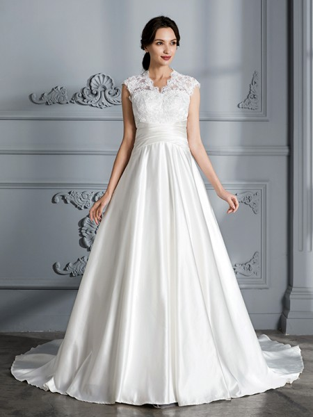 Ball Gown Satin V-neck Court Train Wedding Dresses