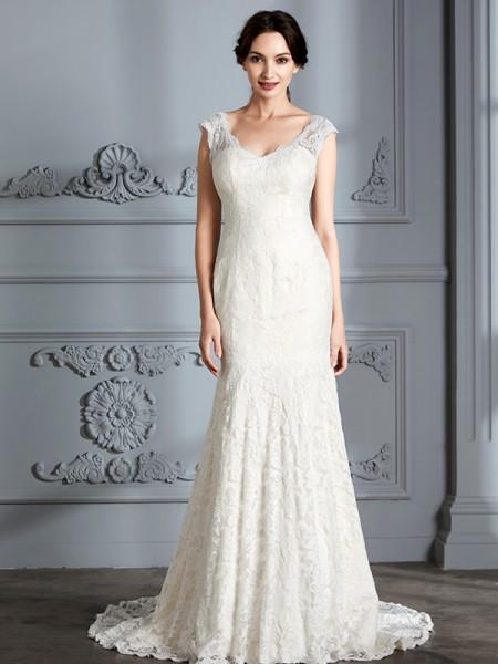 Trumpet/Mermaid Lace V-Neck Sweep/Brush Train Wedding Dresses