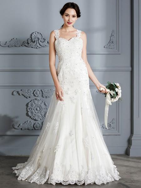 Trumpet/Mermaid Lace Sweetheart Court Train Wedding Dresses