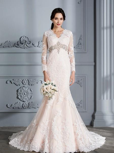 Trumpet/Mermaid Lace V-Neck Sweep/Brush Train Beading Wedding Dresses