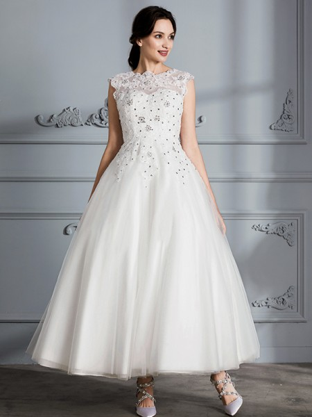 Ball Gown Tulle Scoop Tea-Length Wedding Dresses