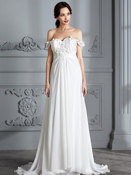 A-Line/Princess Chiffon Off-the-Shoulder Floor-Length Wedding Dresses