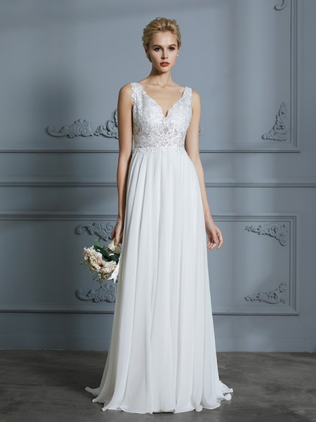 A-Line/Princess Chiffon V-neck Sweep/Brush Train Wedding Dresses