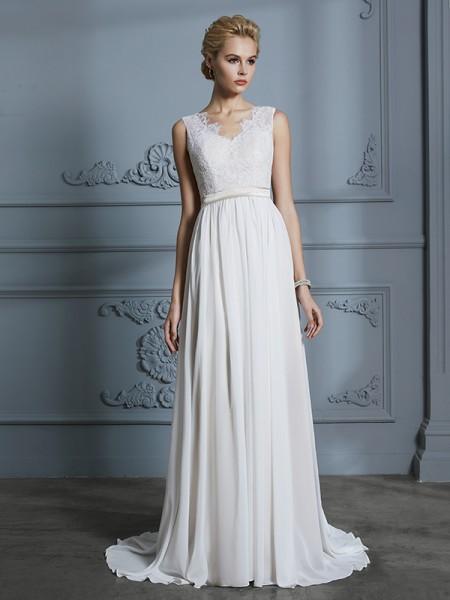 A-Line/Princess Chiffon V-neck Court Train Wedding Dresses