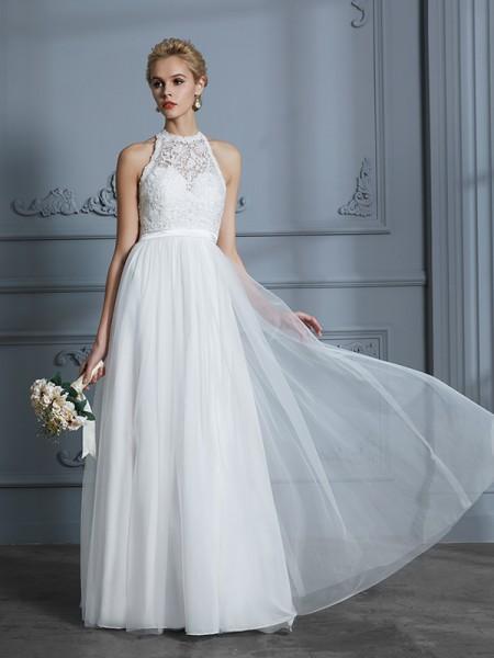 A-Line/Princess Tulle Scoop Floor-Length Wedding Dresses