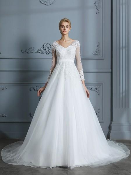 Ball Gown Tulle V-neck Court Train Wedding Dresses