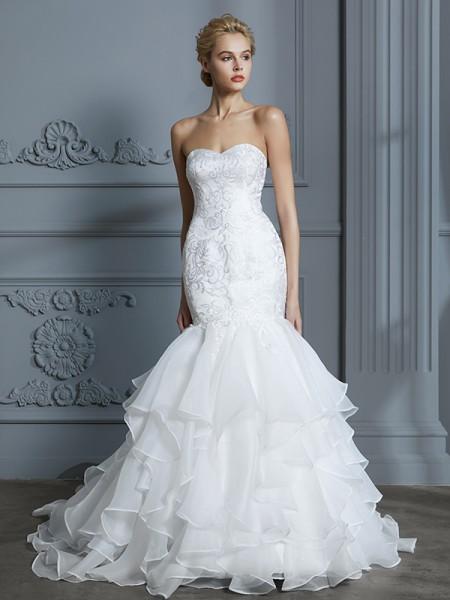 Trumpet/Mermaid Organza Sweetheart Sweep/Brush Train Ruffles Wedding Dresses