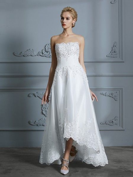 A-Line/Princess Tulle Sweetheart Asymmetrical Wedding Dresses