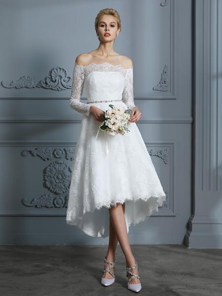A-Line/Princess Lace Off-the-Shoulder Asymmetrical Wedding Dresses