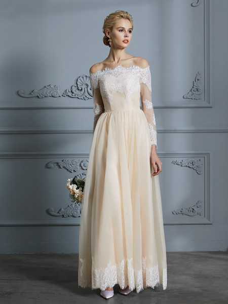 A-Line/Princess Tulle Off-the-Shoulder Floor-Length Wedding Dresses