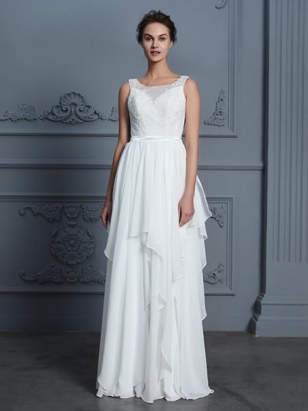 A-Line/Princess Scoop Floor-Length Chiffon Ruffles Wedding Dresses