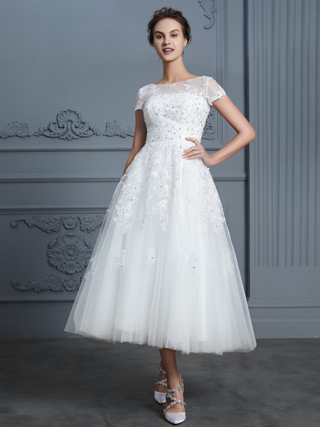A-Line/Princess Scoop Tea-Length Tulle Wedding Dresses