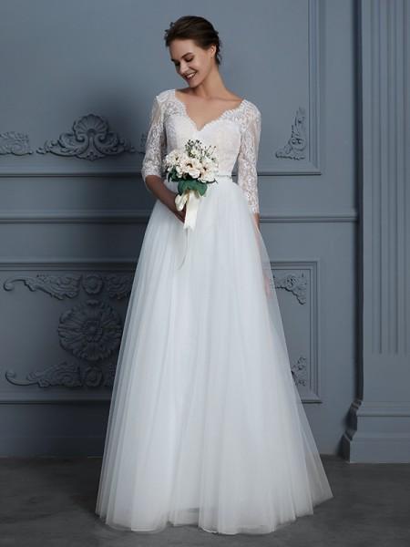 A-Line/Princess V-neck Floor-Length Tulle Wedding Dresses