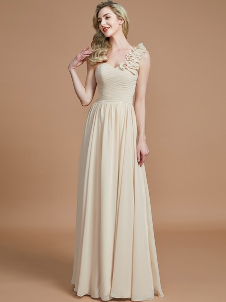 A-Line/Princess One-Shoulder Floor-Length Chiffon Bridesmaid Dresses