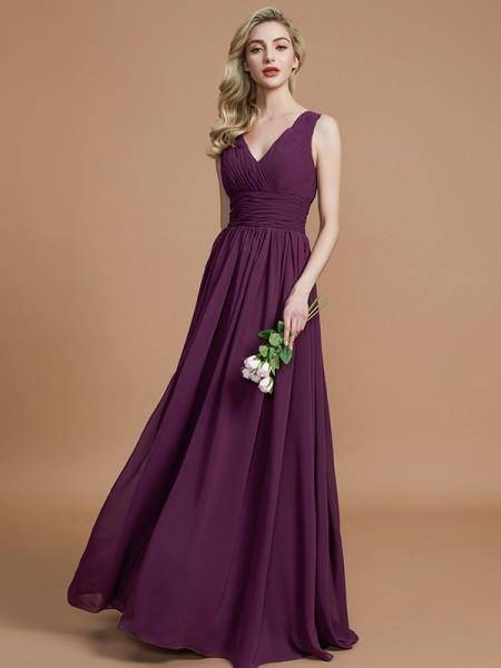 A-Line/Princess V-neck Floor-Length Chiffon Bridesmaid Dresses